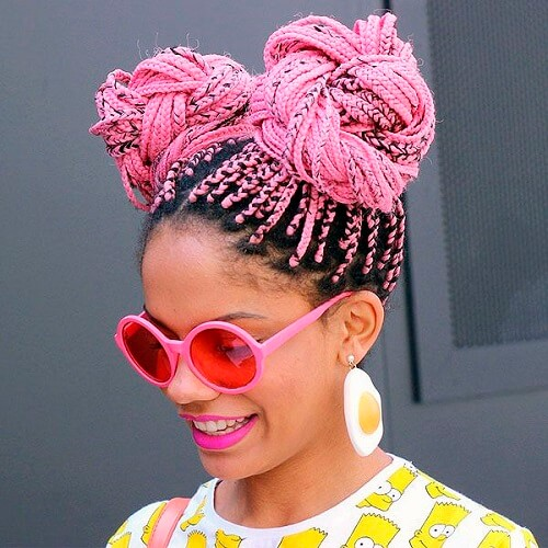 Double Bun Box Braids in pink
