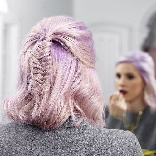 pastel hair with fishtail braid