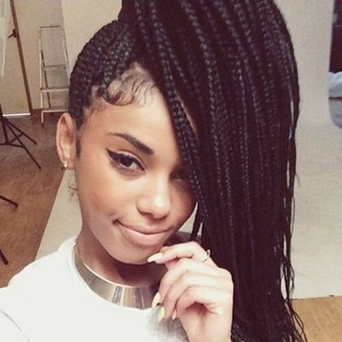 Front Side Ponytail with box braids