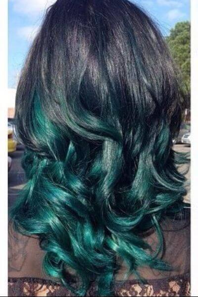 Green Sombre for Black Hair