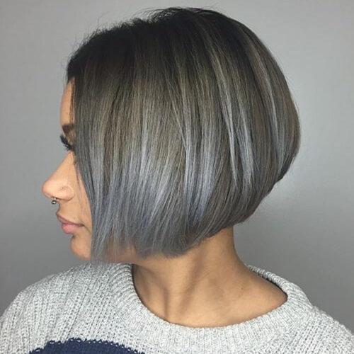 Grey Balayage on Short Hair