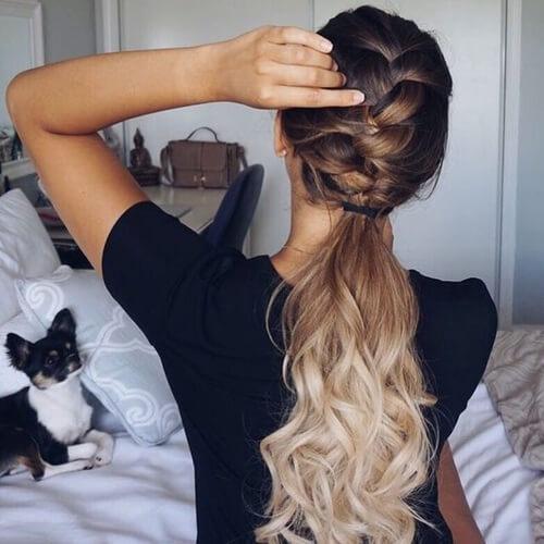 half braid half ponytail ombre