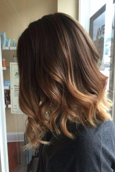 Golden chocolate brown hair color