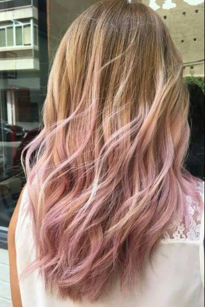 Light Pink Sombre for Blonde Hair