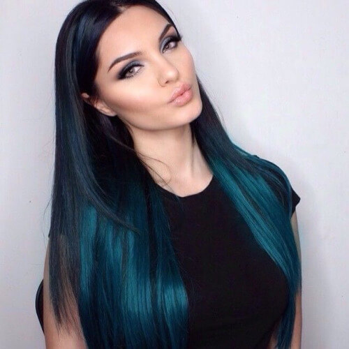 Long Ombre Blue Hair