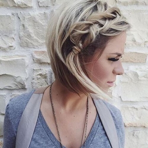 messy side braid with asymmetrical haircut