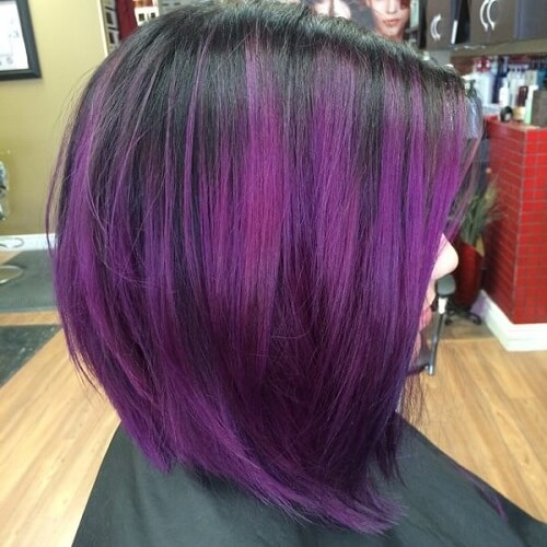 Ombre Purple Hair A-line Bob