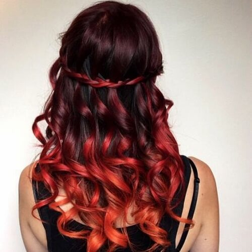 Ombre Red Hair with Waterfall Braid