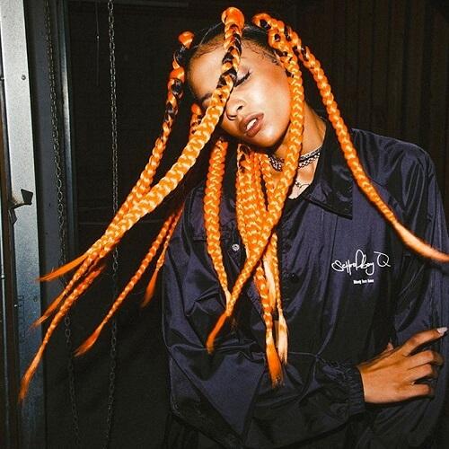 Orange jumbo box braids