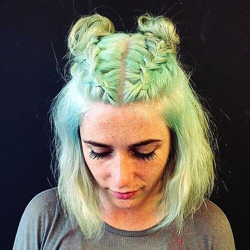 pastel green double french braids