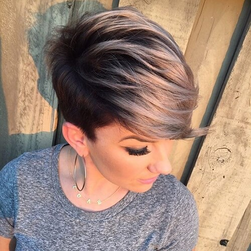 Pixie Silver Ombre Hair