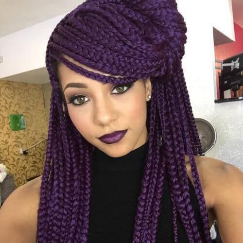 Purple Box Braid Hair