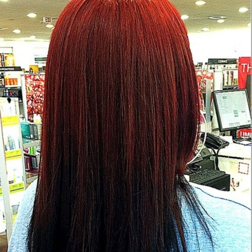 Red to Black Ombre Hair