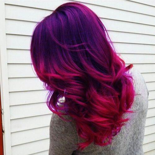 Rich Violet and Deep Magenta ombre hair