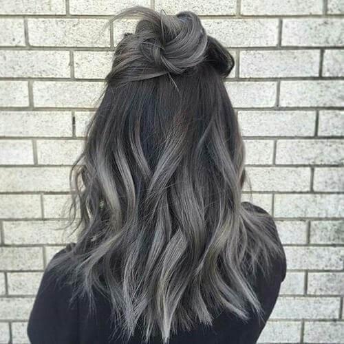 dark grey balayage