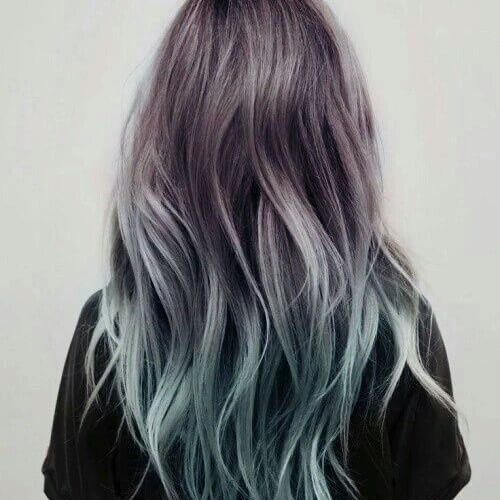 steel grey and blue ombre hair