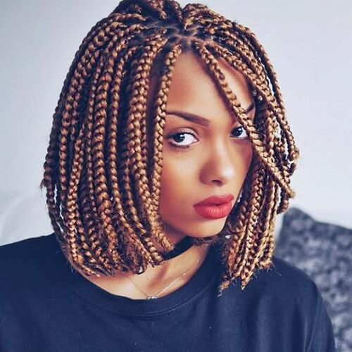 Short Box Braids with Bob Haircut