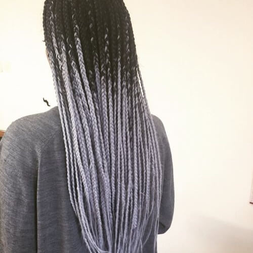 Silver Ombre with Black Roots