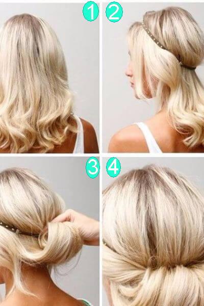 Twisted Headband Updo for Medium Hair