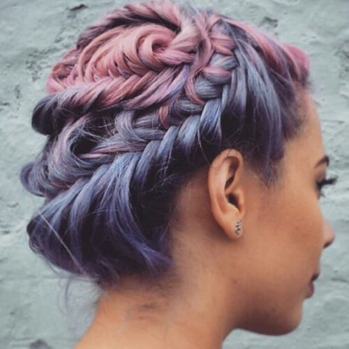 twisted braid pastel ombre