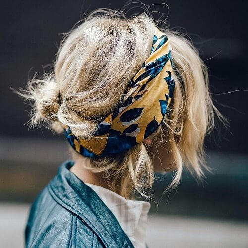 short hairdo with scarf