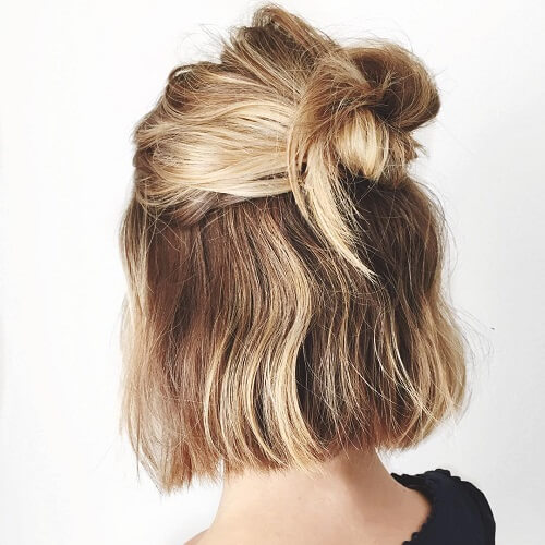 half up half down twisted bun