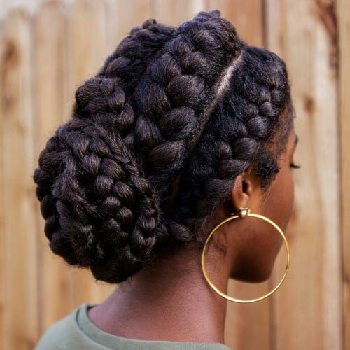 big goddess braids bun