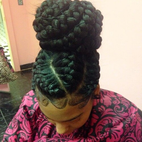 Big Goddess Braids in a Bun