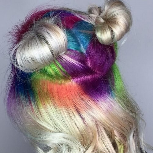 Blonde Hair with Rainbow Roots