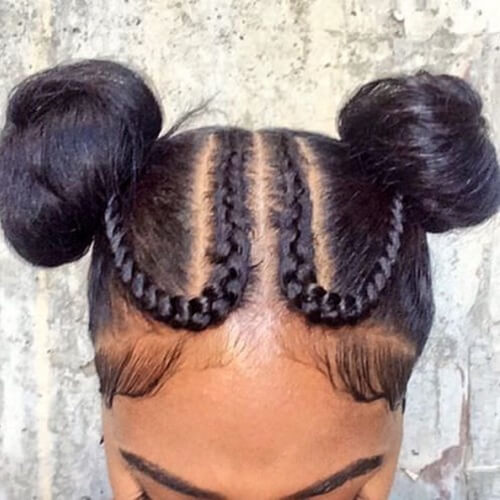 Double Bun Goddess Braids Updo Hairstyles