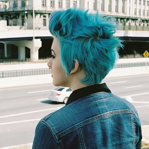 Electric Turquoise Messy Pixie