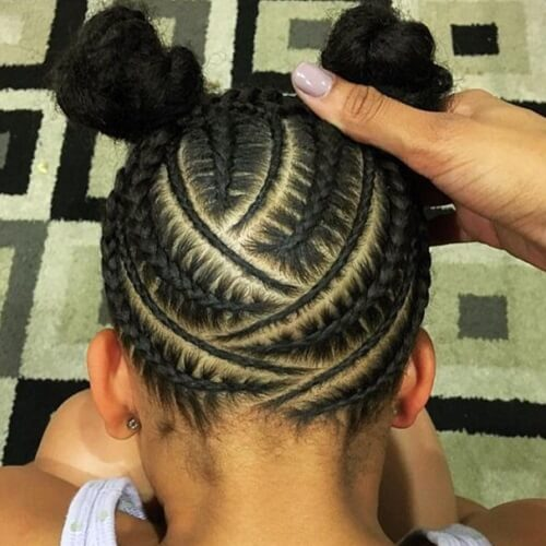 Feed In Zig Zag Cornrows with Double Buns