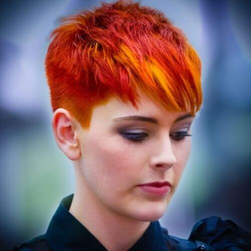 Fire Gradient pixie haircut