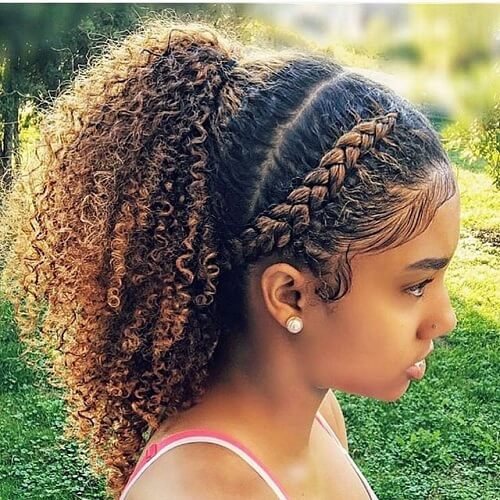 Natural Hairstyles for Kids with Ponytail and Braid