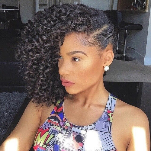 Naturally Curly Hairstyles with Side Braids