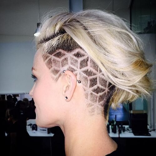 Back Of Hair Shaved With Design