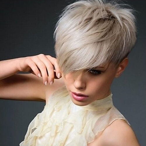 Platinum Pixie Cut with Long Bangs