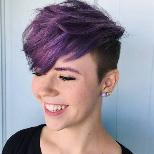 Purple, Dark Roots and Shaved Side