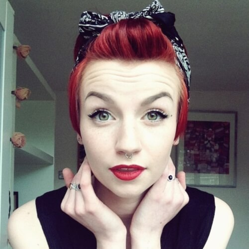 Red Pixie Cut with Bandana