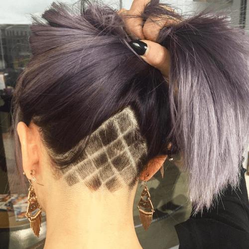 Undercut Long Hair with Diamond Pattern