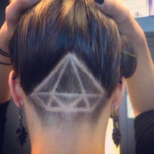 Upside Down Diamond Long Hair Undercut