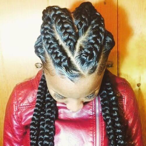 V-shaped Goddess Braids Hairstyles
