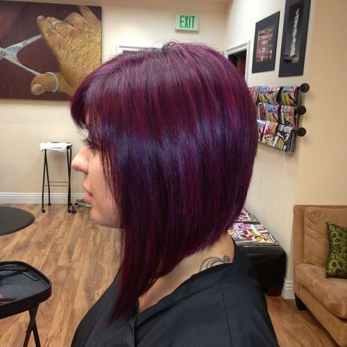 a-line bob in purple