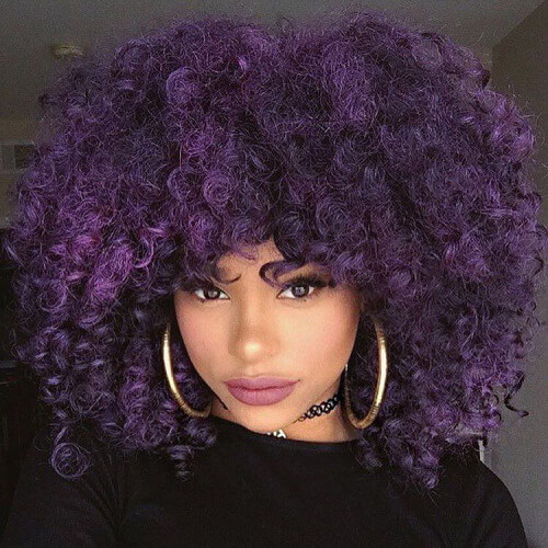 big purple curly hairstyle
