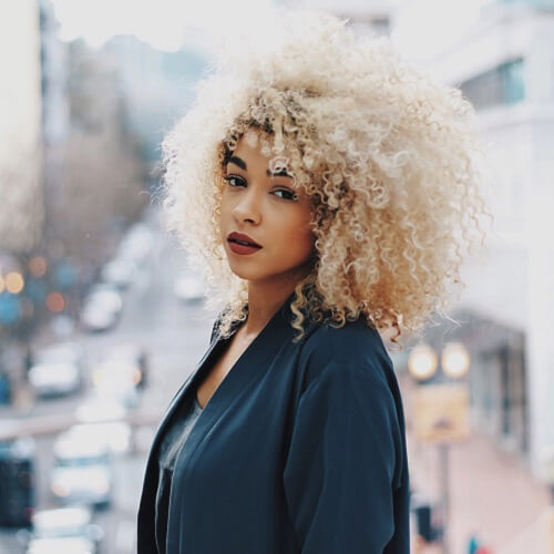 blonde afro-textured hair