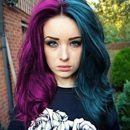 half purple half turquoise