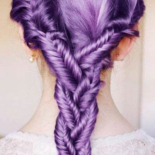 lavender double fishtail braid