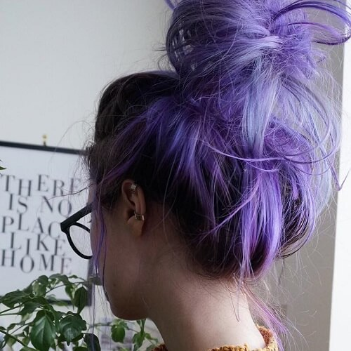 messy purple bun