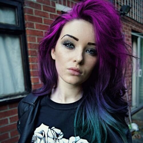 purple and green hair