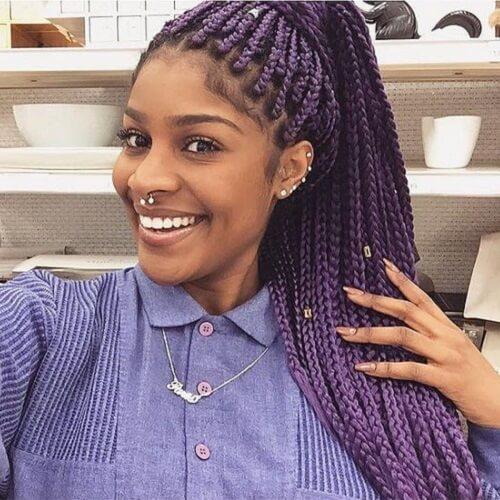 purple braided ponytail